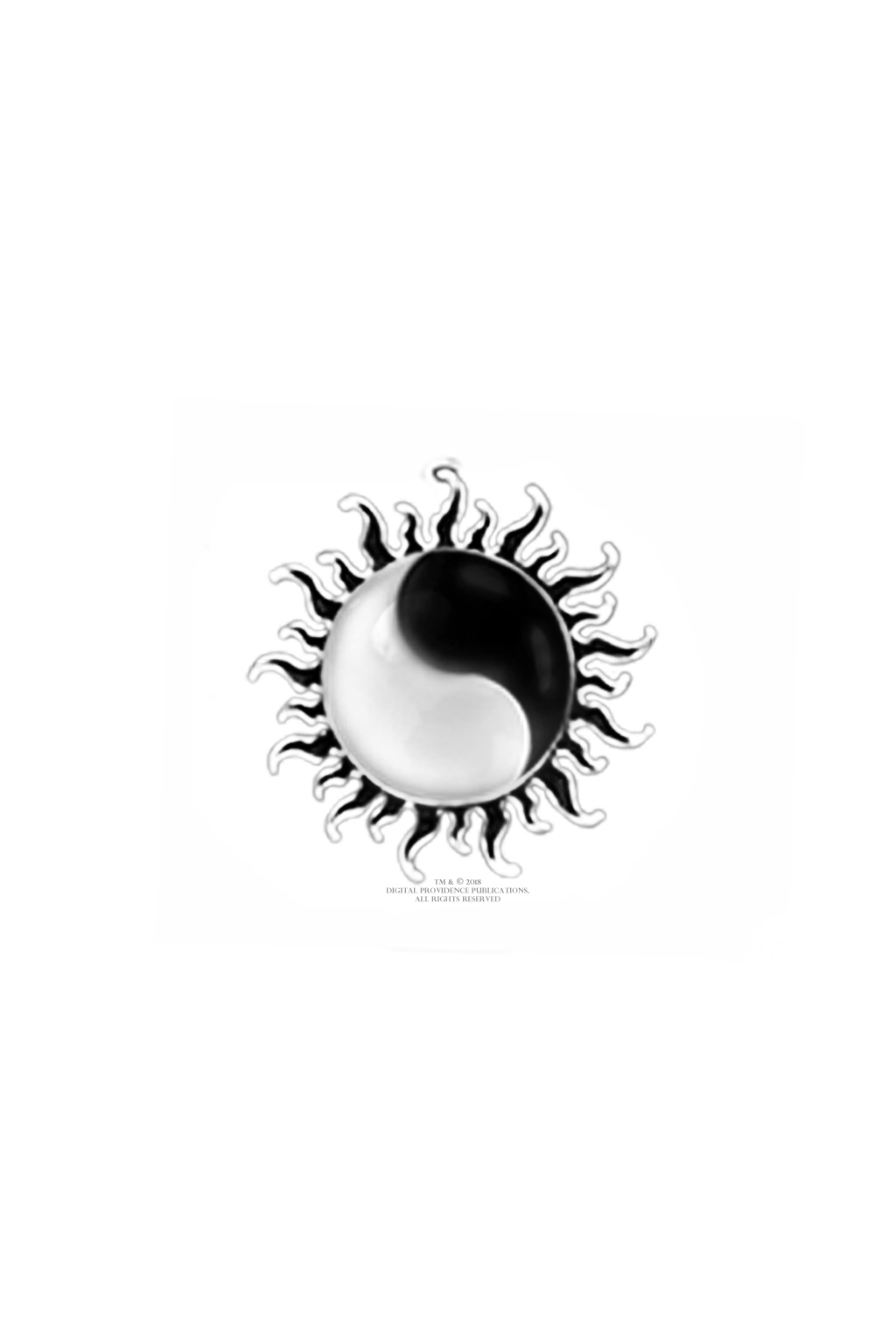 Yin-yang symbol within fiery black sun with black flames and silver outline logo on white background, TM and © 2018, Digital Providence Publications, All Rights Reserved